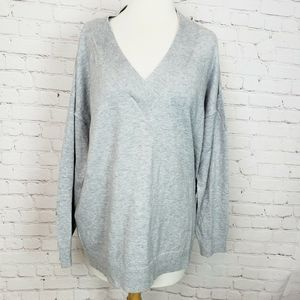 Gap Brooklyn V-Neck Pullover Sweater Heather Grey